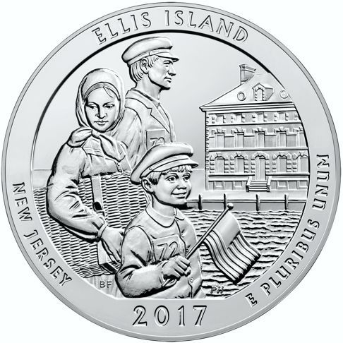2017 - 5 oz. Silver, Ellis Island - New Jersey - America the Beautiful Bullion Coin - reverse side -       Reverse Design: depicts a hopeful immigrant family approaching Ellis Island.