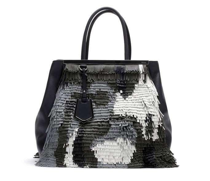 Collezione borse Fendi Autunno Inverno 2013-14 - Handbag con frange corte grigie e nere