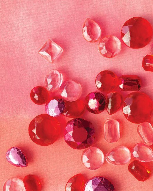 Candy gems: Ingredients: -2 cups sugar -1/2 cup water -1/4 cup corn syrup -1/4 teaspoon cinnamon extract -Gel-paste food coloring, such as Tulip Red, Orange, or Soft Pink