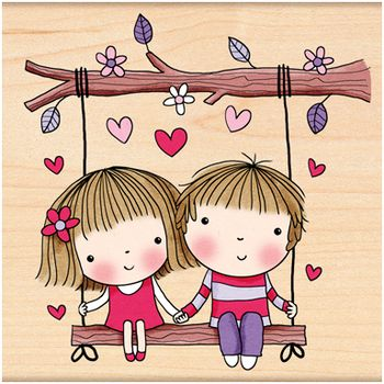 Penny Black Swinging - Rubber Stamp. Love themed Penny Black rubber stamp featuring two young sweethearts in a swing.