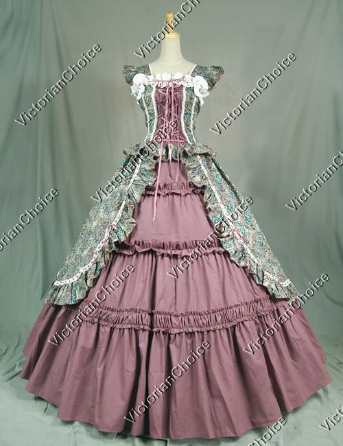 Victorian Gothic Cosplay Cotton Dress Ball Gown Prom Reenactment Clothing