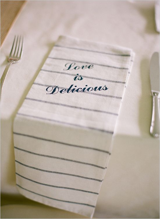 love is delicious kitchen towel