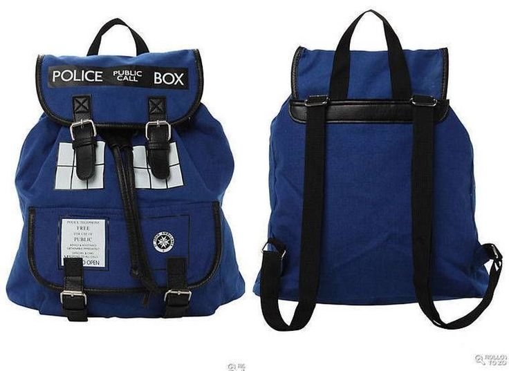 new DOCTOR WHO blue TARDIS POLICE BOX BACKPACK (also available at Hot Topic)