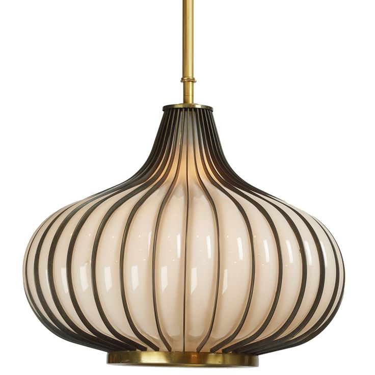 Pair of 'Onion' Form Glass & Metal Pendant Lights | From a unique collection of antique and modern chandeliers and pendants at http://www.1stdibs.com/furniture/lighting/chandeliers-pendant-lights/