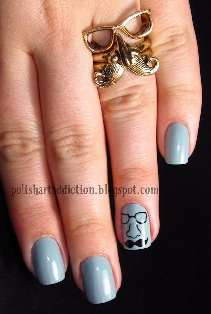 Mer enn 20 bra ideer om mustache nail art p pinterest mustache nail art from polish art addiction prinsesfo Choice Image