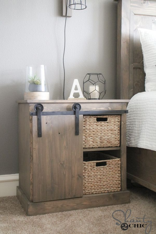 free plans and howto video to build this diy sliding barn door nightstand and