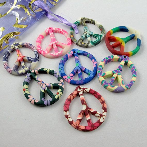Polymer Fimo Clay Peace Sign
