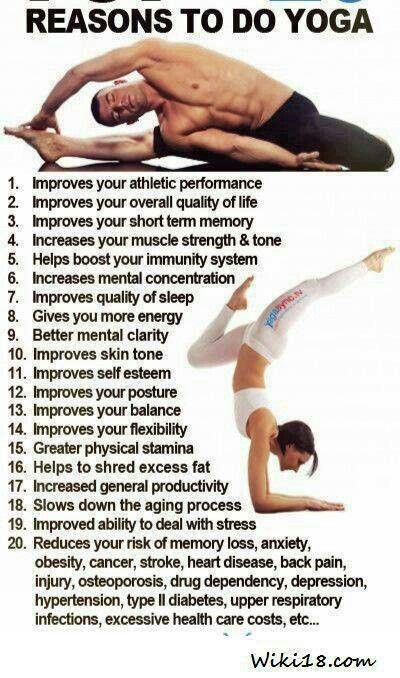 these are all good reasons. i do yoga simply because it makes me feel good, brings me piece, connects my body, mind, and soul, and leaves me with a good attitude that allows me to embrace all the positive things in the world. http://www.homeocares.com