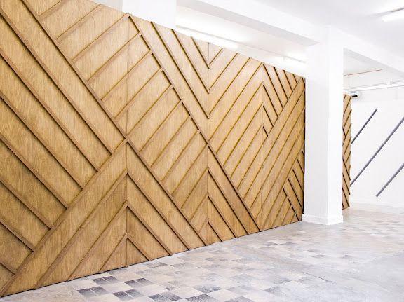Gorgeous timber wall - like the geometric pattern