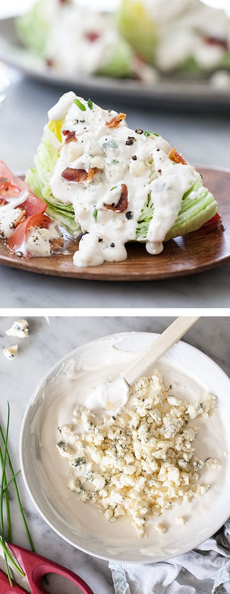 Classic Blue Cheese Wedge Salad with THE BEST and easiest homemade blue cheese dressing. And bacon bits of course. on foodiecrush.com #recipe #salad #bluecheese