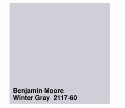 "Benjamin Moore Winter Gray 2117-60 ""This is a wonderfully soft, soothing color that can read as a warm gray with a dusting of violet or vice versa, depending on the light. It's moody and elegant and pairs beautifully with silver, gold, and dusty blues and greens."" -Kendall Wilkinson"