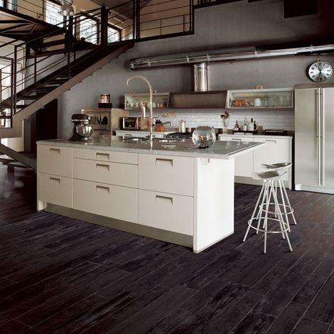 Dark Wood Plank Porcelain Tile sets off a contemporary white island.    Floor & Decor   DIY Decorating Ideas   Pinterest   Dark, Plank and  Porcelain tiles - Dark Wood Plank Porcelain Tile Sets Off A Contemporary White