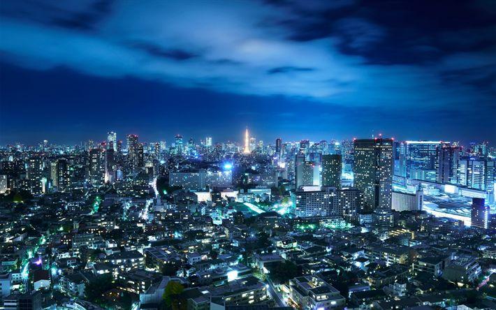 Télécharger fonds d'écran Tokyo, la nuit, métropole, ville des lumières, ville de nuit, Japon