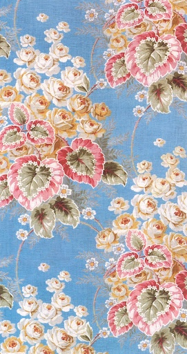 Begonias & Cabbage Roses. A Russian textile from the early 1900s. It still looks fresh today.
