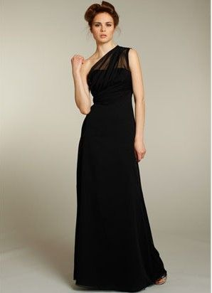 One shoulder long empire black chiffon sleeveless pleated Bridesmaid Dress BD249258