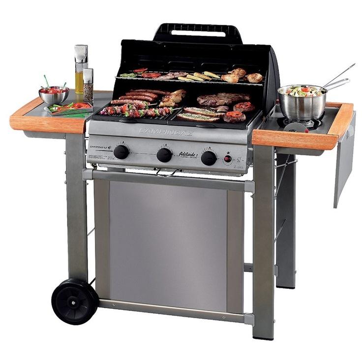 Barbecue Fonte Leroy Merlin #11: Leroy Merlin. Adelaide 3-veis Gassgrill Med Sidebrenner Og Bord. Produsert  I Italia
