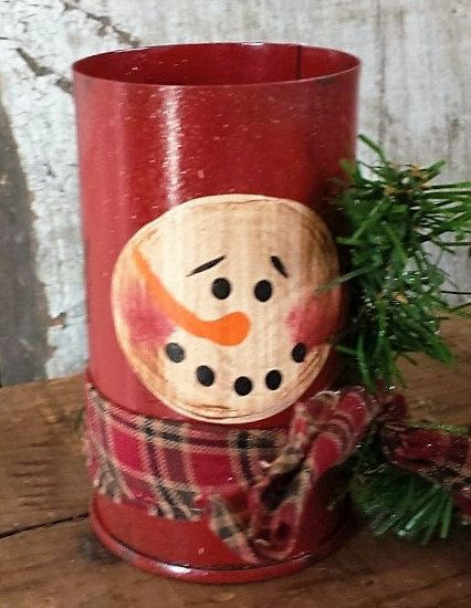 Primitive Snowman Tin, Snowman Tin, Snowman Container, Bucket, Hand Painted, Vintage Metal Container, add greens and berries for display by FlatHillGoods on Etsy
