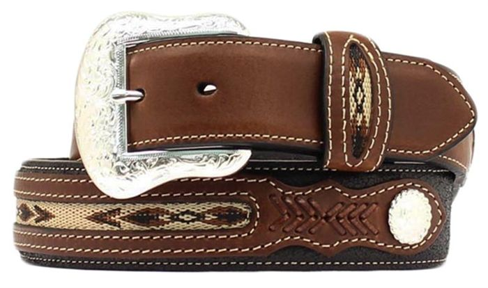 Nocona Men's Black/Brown Belt w/Southwestern Nylon Woven Overlay and Silver Conchos (48-58)