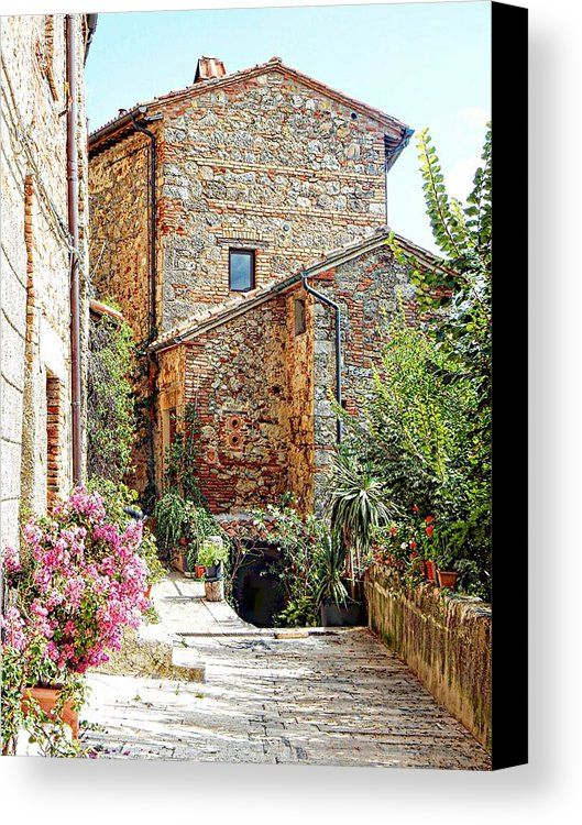 Old House Canvas Print featuring the photograph Old House Cetona by Dorothy Berry-Lound #cetona #italy