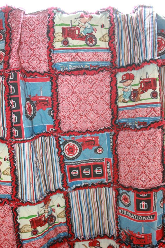 Baby Rag Quilt, In a Farmall International Harvester Tractor Design, with Red Bandana. Handmade Quilt! International tractor Nursery bedding on Etsy, $98.00