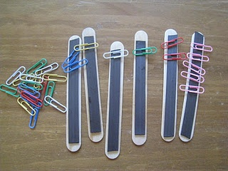 jumbo craft sticks with magnet strips. Use them for color or number sorting paper clips. Or patterns!