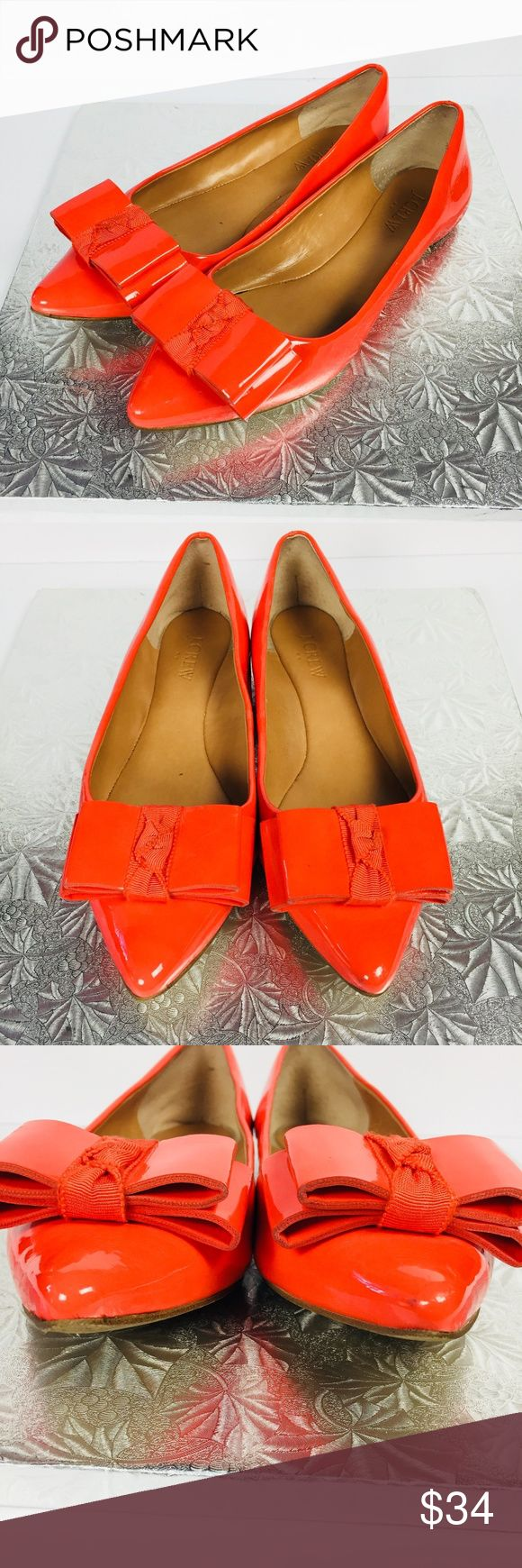 J Crew Womens Factory Size 6.5 Emery Flat Orange Poppy orange, ballet flats with a pointed toe and bow on front. Wear on bottom and small crease on inside of right shoe, see photos. J. Crew Shoes Flats & Loafers
