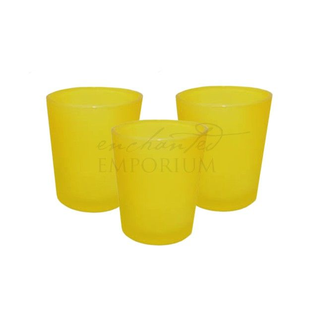 Yellow Frosted Tealight Votives, Enchanted Emporium