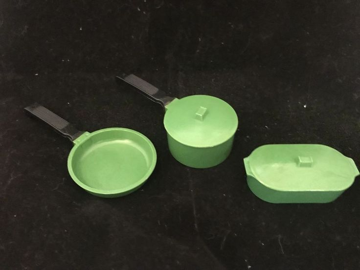 Vintage Plastic Green Toy Kitchen Set Made In Hong Kong 5 pieces FREE SHIPPING  | eBay