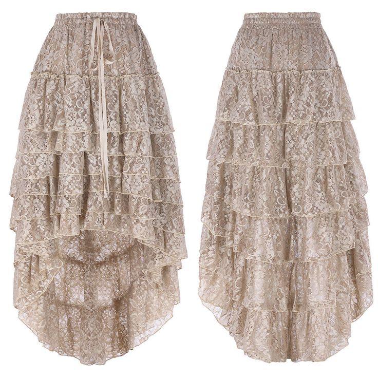 Gothic Victorian Steampunk Burlesque Vintage Lace Evening Wedding Maxi Skirt New | eBay