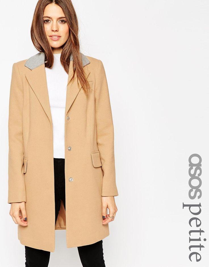 Image 1 ofASOS PETITE Coat in Contrast Collar