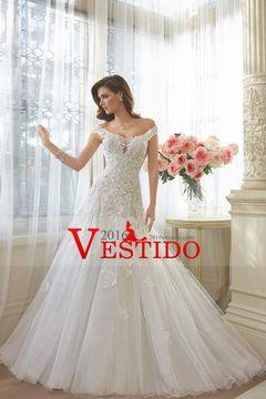 2016 vestidos de boda A-Line Scoop Tren de la capilla de Tulle con apliques de encaje arriba Volver US$ 279.99 VEP1817A92 - 2016vestido.com for mobile