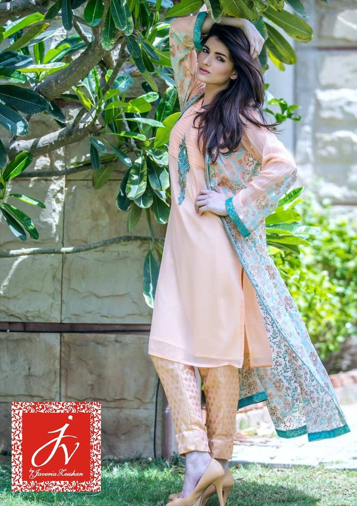 Pakistani Designer Dresses - Lowest Prices - Peach Chiffon with Block print coat By JV Eid Collection 2015 - Dresses - Latest Pakistani Fashion
