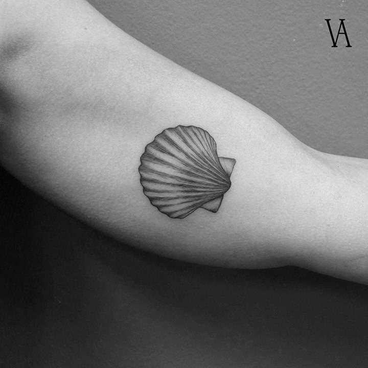 Fine line shell tattoo on the left inner arm.