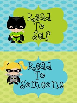 Superhero, daily 5 signs, eekk sign, i pick sign, 3 ways to read a book sign, posters, bulletin board set...