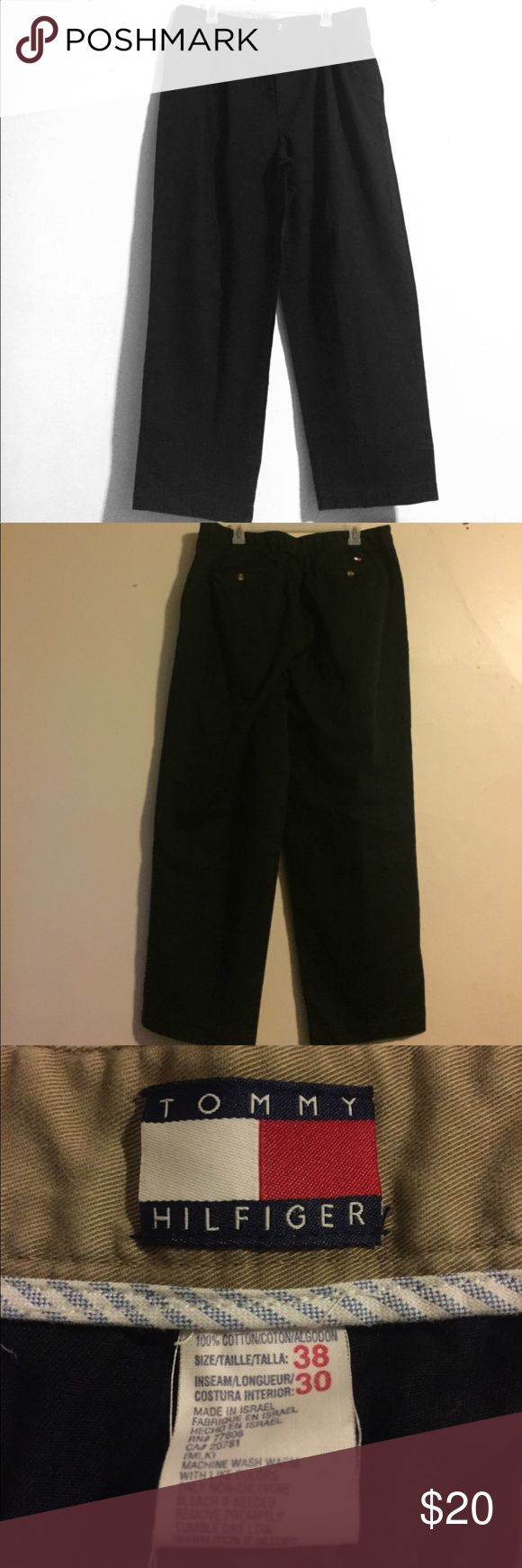 Men's Tommy Hilfiger black slacks. Size 28. Jvc320 MEASUREMENTS IN INCHES: waist:36 inseam:29 outseam:41.5 hips:45 thigh:29 waist to crotch:13 leg opening:18 Zipper & Length:7.5 Pockets: 4 Buttons:3 Tommy Hilfiger Pants Dress