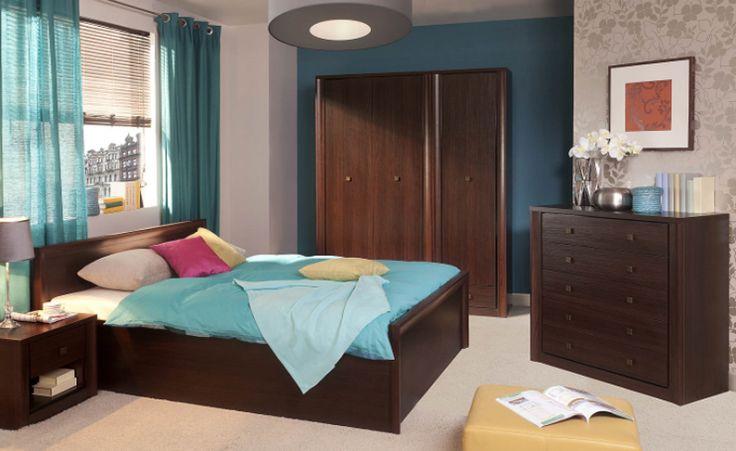 Sypialnia PREMIS, kasztan  #meble #dom #wnetrza #wystrój #mieszkanie