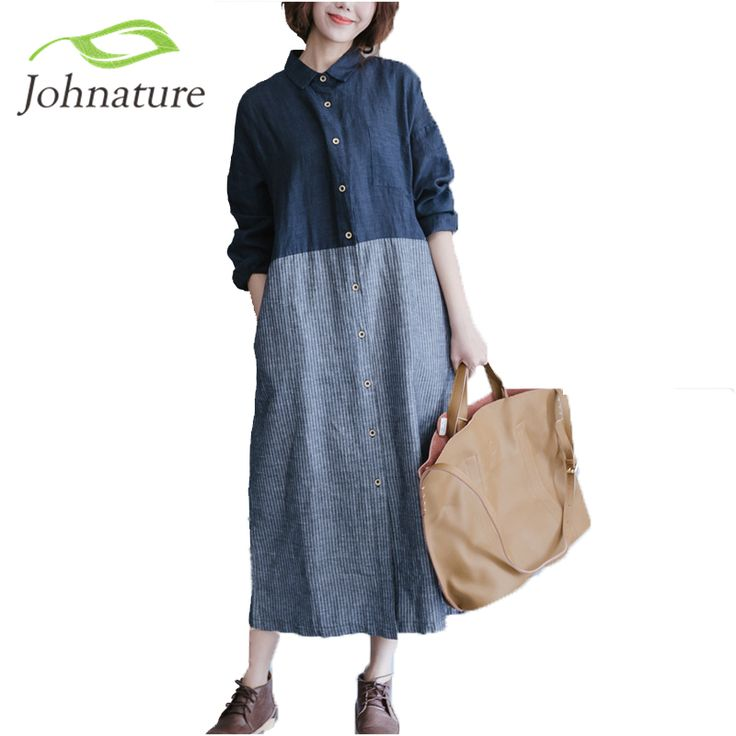 Johnature Women Cotton Linen Dress Patchwork Long Sleeve 2017 Spring New Women Striped Shirt Casual Vintage Blue Dress-in Dresses from Women's Clothing & Accessories on Aliexpress.com | Alibaba Group