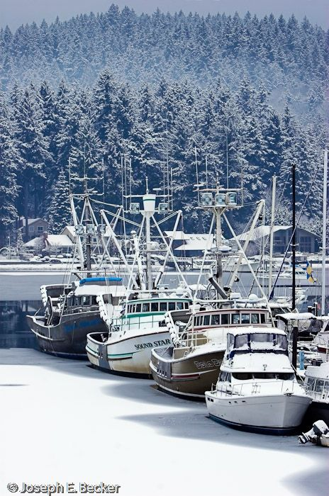 Snowy fishing boats in Gig Harbor, Washington