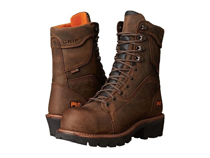 Timberland PRO 9 Composite Safety Toe Waterproof Insulated Logger Men's Work Boots Brown Leather