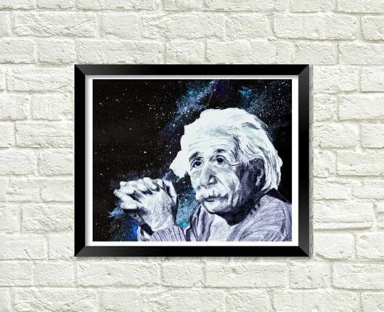 Galaxy Einstein Art Print, Eclectic Fine Art, Rustic Home Decor, Crazy Scientist Wall Art, Gift for Him or Her