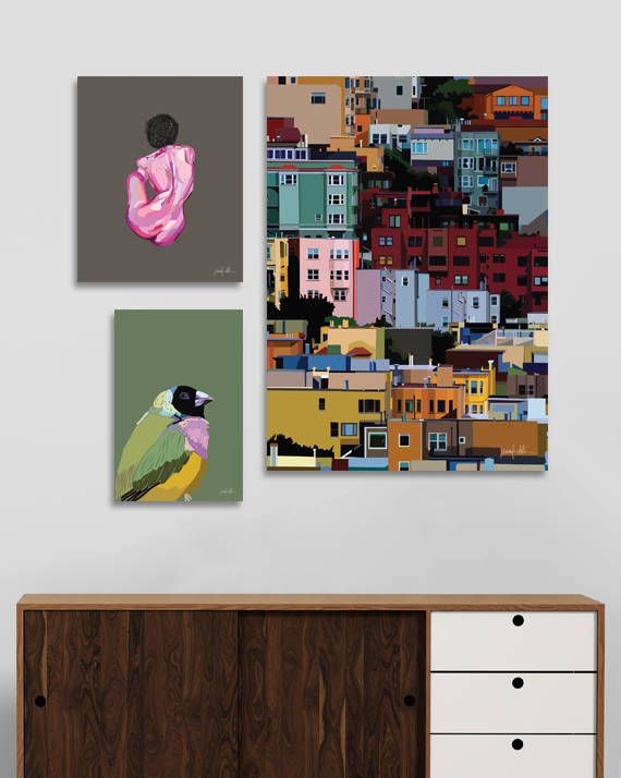 """San Francisco print Russian Hill Colorful art City art print USE THE CODE """"PINTEREST"""" TO RECEIVE 30% OFF!"""
