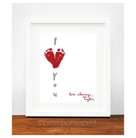 Gift for New Dad  I Love You Baby Footprint by PitterPatterPrint, $30.00