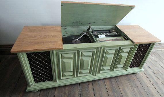 Lecteur de vinyle vert Bowie shabby chic  par RevalorisationAina