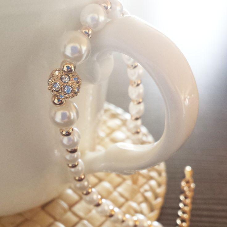 Perły, blask cyrkonii i złota <3
