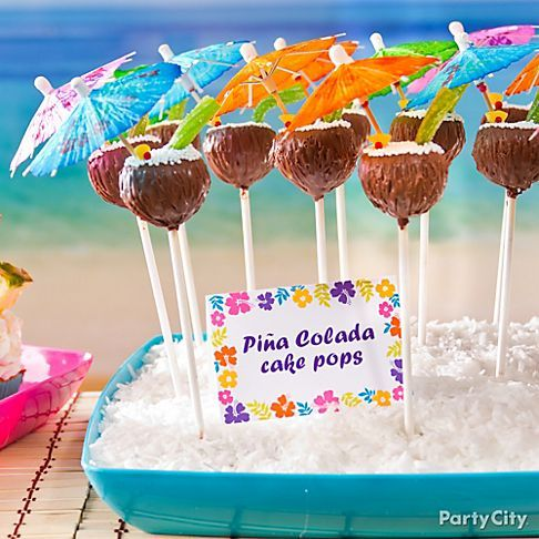 Piña colada cake pops & more sweet ideas for luau party treats. Click for the recipe!