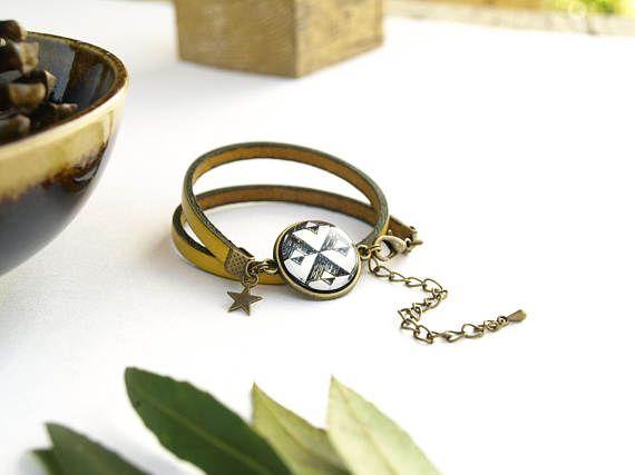Bracelet tribal en cuir jaune yellow leather bracelet for women