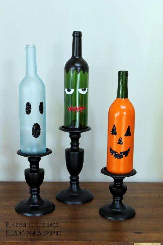 So cute! DIY Halloween Wine Bottles