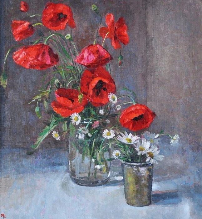 Poppies in a Jam Jar. (647x700, 547Kb)