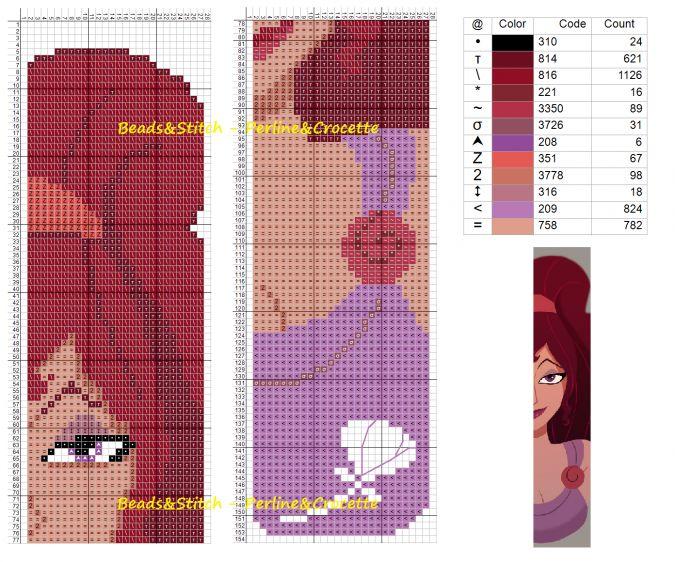 Схемы для вышивки закладок с героинями Дисней