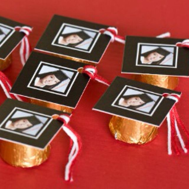 """What a cute idea for a graduation party! """"Mortarboard"""" photos taped onto Rolos :) Great idea for a favor..."""
